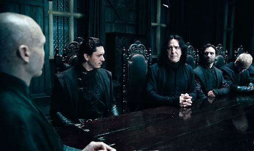 Ralph Fiennes as Lord Voldemort and Alan Rickman as Severus Snape (Deathly Hallows)