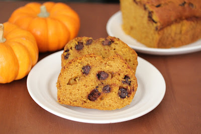 slices of Chocolate chip pumpkin bread