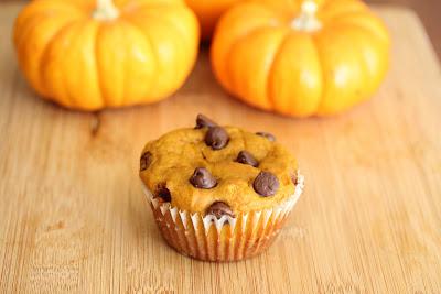 Chocolate Chip Pumpkin Muffin with pumpkins