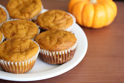 close-up photo of a plate of pumpkin muffins