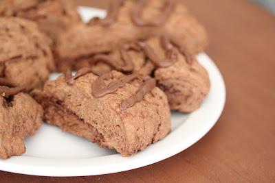 close-up photo of a nutella scone