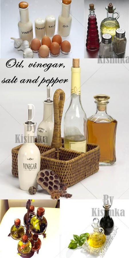 Stock Photo: Oil, vinegar, salt and pepper