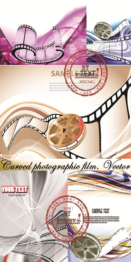 Curved photographic film. Vector 2