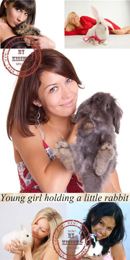 Stock Photo: Young girl holding a little rabbit