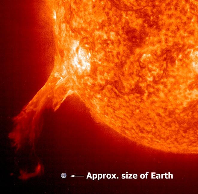 El verdadero tamaño de una erupción solar