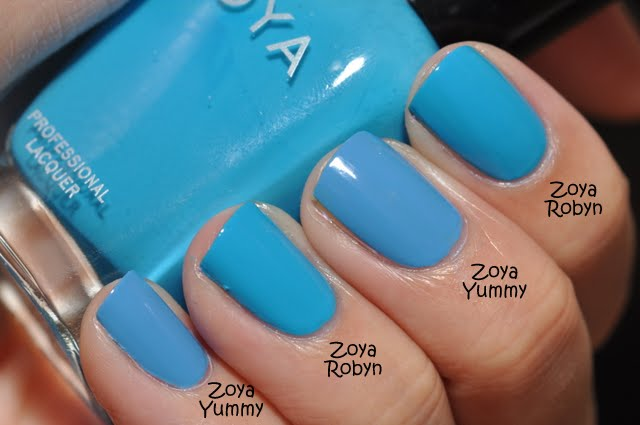 This picture without flash shows the differences a bit better Zoya Robyn Vs Rocky