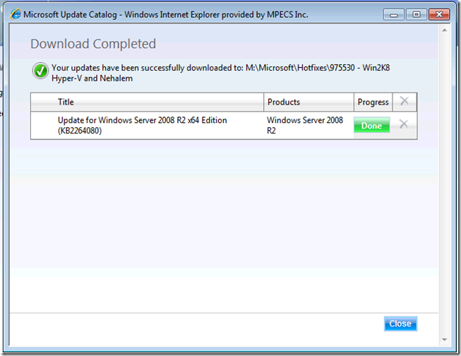 MPECS Inc  Blog: Can't Download Hyper-V Update Rollup Package