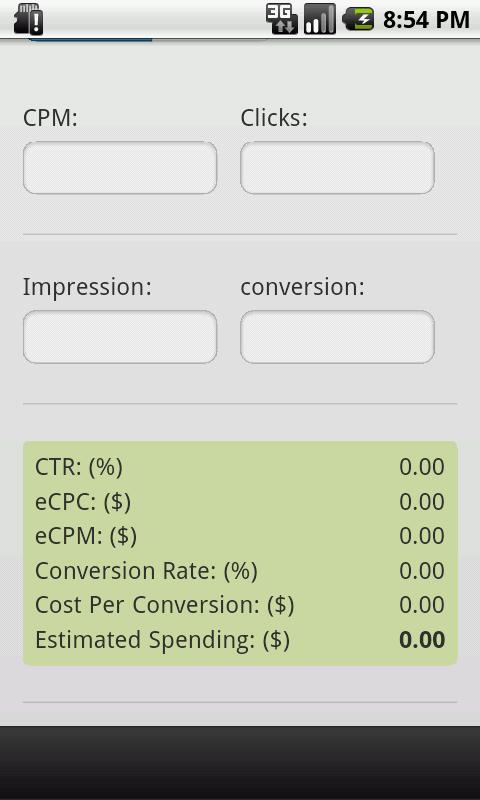 Ads CPM and CPC Calculator - screenshot
