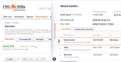Screenshot of ING-DiBa (alte Version)