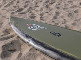 Tim Stafford Custom Surfboards - 6'8 Blunt Diamond for Olly with railside resin tint