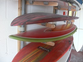 "Tim Stafford Custom Surfboards - Cornwall UK, 6'4"" bonzer EVO3 double wing pintail hotcoated ready for sanding"