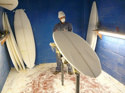 Tim Stafford Custom Surfboards - Tim shaping a double wing pintail bonzer