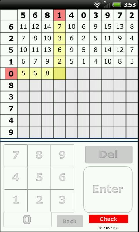 100マスの足し算- screenshot