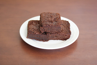 photo of three brownies on a plate