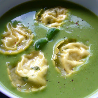 Pea and Zucchini Soup with Ricotta Ravioli.