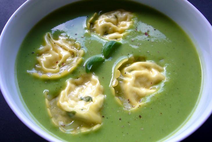 Pea and Zucchini Soup with Ricotta Ravioli Recipe