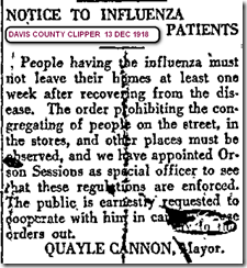 Flu Victims Not Leave Homes 13 Dec 1918 Davis County Clipper.jpg