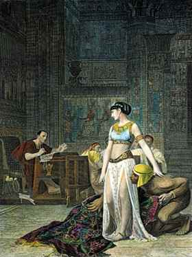 The Egyptian queen, shown here in a 19th-century engraving, sneaked back from exile and surprised Julius Caesar.