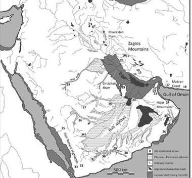 Map of southwest Asia depicting exposed landscapes during the Last Glacial Maximum as well as ancient and modern drainage systems. Numbers indicate Pleistocene and Early Holocene sites mentioned in the study.