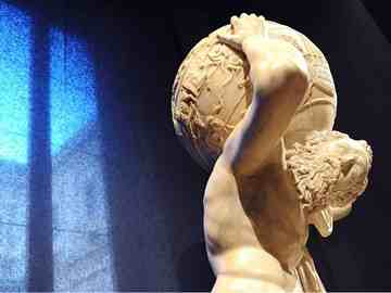 Famous Atlas sculpture on display in Rome