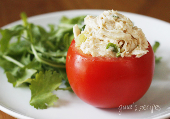 Chicken, scallions with a hint of lime. For the cilantro lovers out there, enjoy this tasty twist on traditional chicken salad with a little Latin flavor. I'm cutting back on my carbs this week, so I thought serving this in a hollowed out tomato would be a great way to eat this for lunch, but you could also serve this in an avocado half (yum!), on a bed of greens, or enjoy this on toasted whole grain bread.
