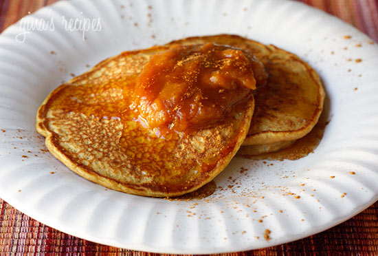 These whole wheat pancakes are lightly seasoned with brown sugar, pumpkin pie spice, vanilla, and topped with pumpkin butter for a hearty Autumn breakfast. Low fat, high in fiber and just plain good or you!