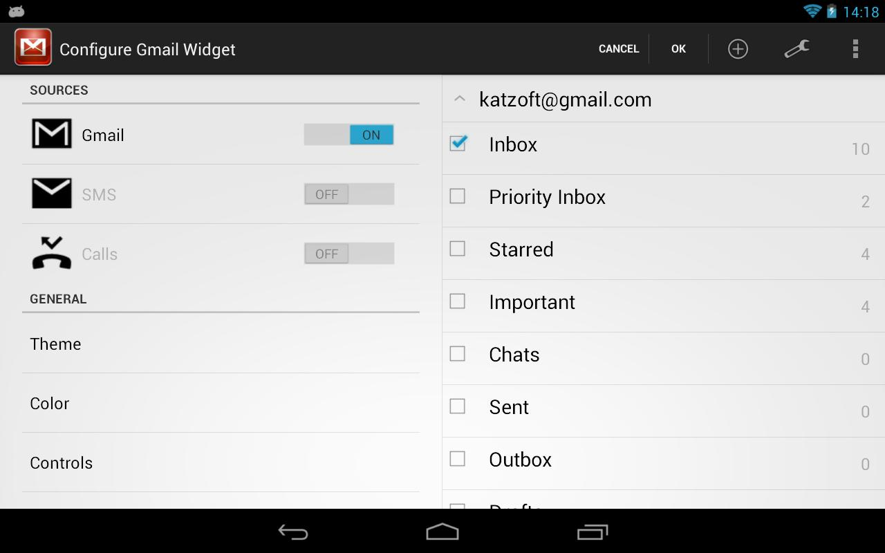Gmail Widgets - screenshot