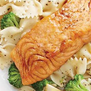 Honey Ginger Salmon with Broccoli and Bow Ties.