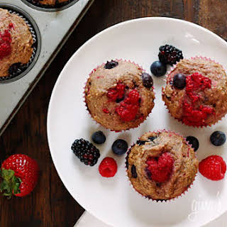 Low Fat Mixed Berry Whole Wheat Muffins.
