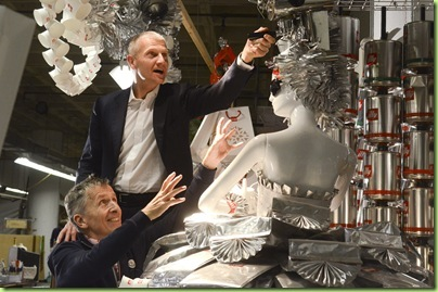 Andrea Illy, chairman of illycaffè, and Simon Doonan, creative director of Barneys, review and adjust illy's holiday windows for  Barneys New York.