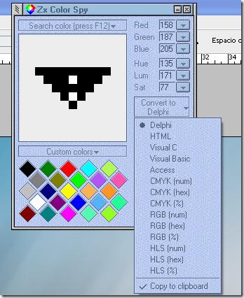 Opciones de Zx Color Spy para capturar colores