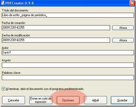 Menú final de creación de PDF de PDFCreator