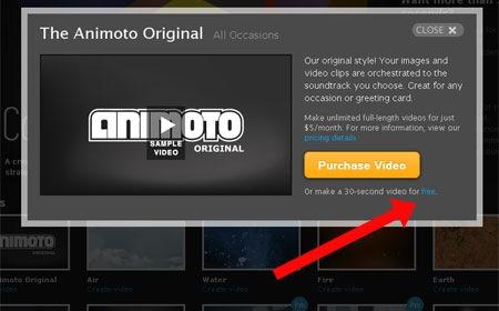 Elegir la opción gratuita de Animoto