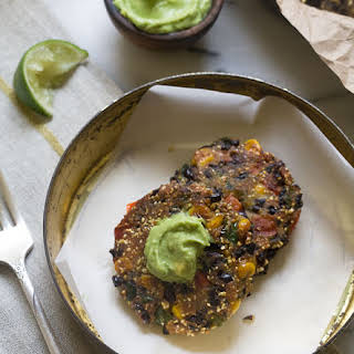 Spicy Black Bean Cakes with Avocado Butter.