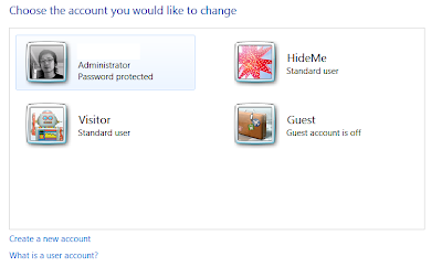 Windows 7 / Vista / XP - Hide User Account from Welcome
