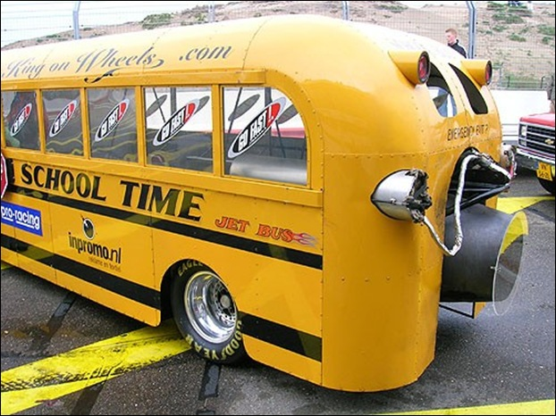 strange yellow school buses