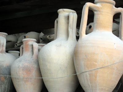 Clay jars in Pompeii Italy