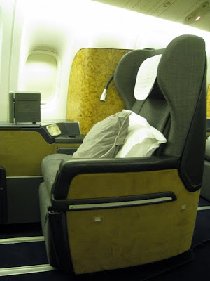 First class seat on British Airways flight from Nairobi to London