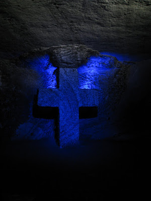 A cross in the underground salt Cathedral of Zipaquira in Colombia