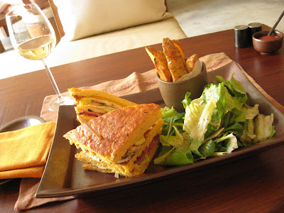 Sandwich for lunch at the restaurant at the Evason Ma'in Resort and Six Senses Spa in Jordan