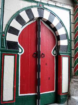 Colorful wooden door in Tunis