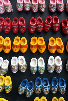 Tiny magnets of Dutch shoes for sale in Amsterdam in Holland