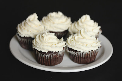 photo of a plate of chocolate cupcakes with frosting