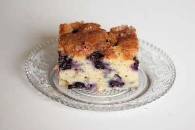 close-up photo of a slice of blueberry cake