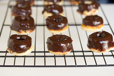 Mini cake donuts with chocolate ganache