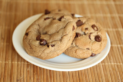 photo of two Nutella Chocolate Chip Cookies on a plate