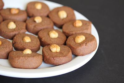 photo of a plate of Chocolate Hazelnut Sandies