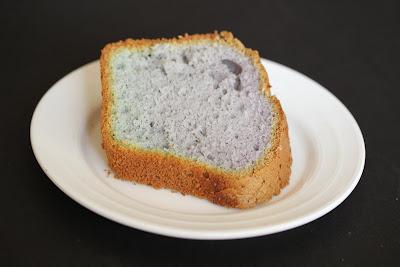 photo of one slice of Ube (Purple Yam) Chiffon Cake on a plate