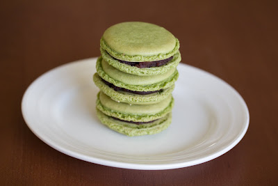photo of a stack of macarons on a plate