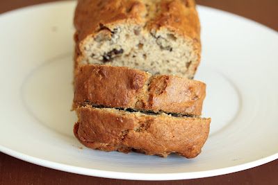 close-up photo of sliced banana nut bread on a plate